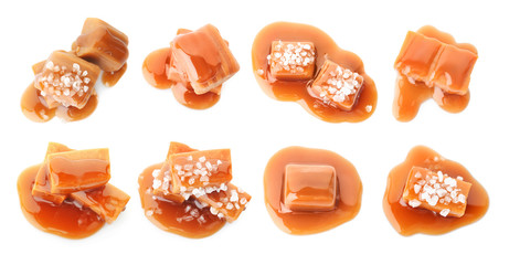 Set with delicious caramel candies and sauce on white background, top view