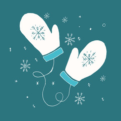 White gloves with snowflakes on a blue background. Handdrawn doodle design. Vector illustration.