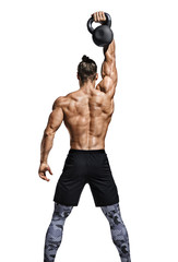 Rear view of muscular man working out with kettlebell. Photo of athletic man with good physique isolated on white background. Strength and motivation.