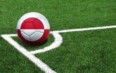 soccer ball on a green field, flag of Greenland
