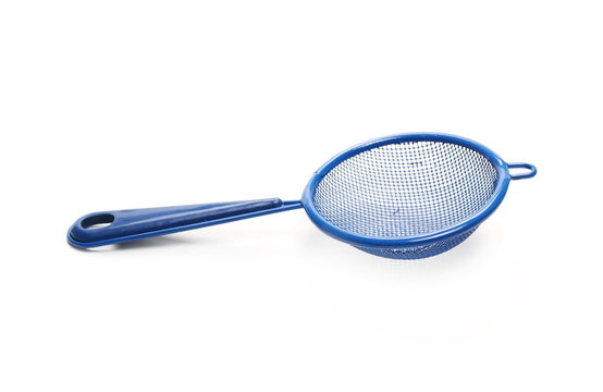 Blue metal sieve isolated on white background