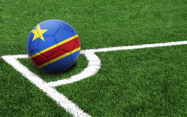soccer ball on a green field, flag of Congo Democratic