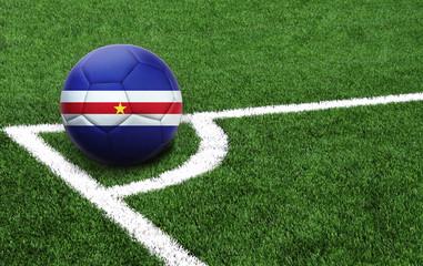 soccer ball on a green field, flag of Cape verde