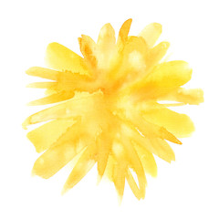 Bright yellow pom pom backdrop painted in watercolor on clean white background. Illustration with rough canvas texture