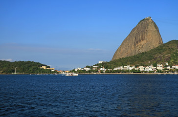 Sugarloaf Mountain or Pao de Acucar, the famous landmark on Guanabara Bay in Rio de Janeiro of Brazil