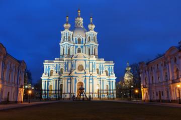 Fond de hotte en verre imprimé Vienne Smolny Convent with Smolny Cathedral at night. Saint Petersburg, Russia