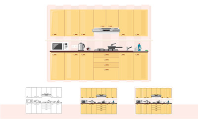 Kitchen. Dinner flat or linear room