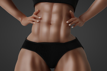 Female with six pack