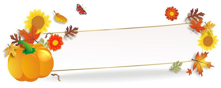 hebstlicher Banner mit Blättern und Kürbis