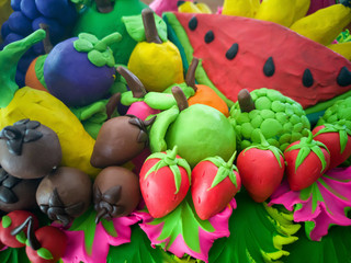 colorful of fruits made from plasticine clay