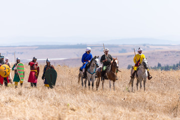 Reconstruction of Horns of Hattin battle in 1187. Warriors of Saladin are standing before the battle on the battlefield.
