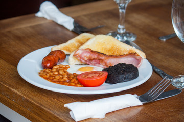 Typical English breakfast, fry up.