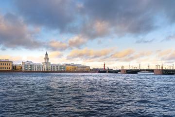 View of Universitetskaya Embankmen in Saint Petersburg. Russia