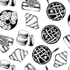 Bakery, sweet pastry vector seamless pattern, hand drawn vector background