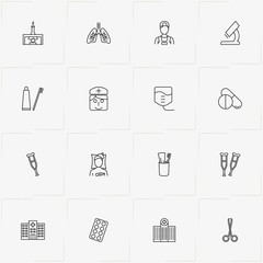 Hospital line icon set with toothpaste with brush, nurse and crutch