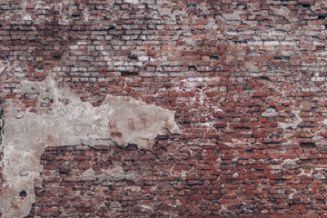 KRONSTADT, RUSSIA – 25 AUGUST 2017: Old red and white brick wall urban texture.