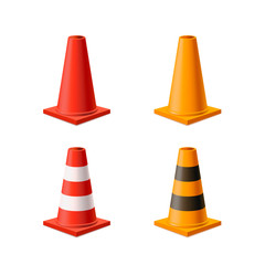 Set of bright yellow and red road cones isolated on white