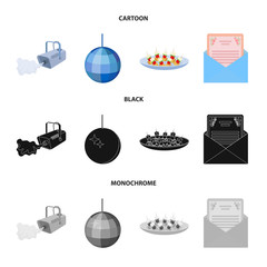 A video camera with smoke, a twirling holiday ball, a plate of sandwiches, an envelope with a greeting card. Event services set collection icons in cartoon,black,monochrome style vector symbol stock