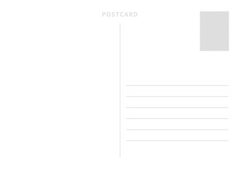 White simple postcard template with place for stamp and address