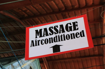 Massage sign in Thailand. Thai massage is one of the most traditional and popular massages in the world.