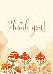 """Beautiful watercolor floral card with message """" Thank you"""""""