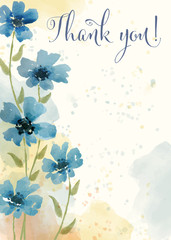 "Beautiful watercolor floral card with message "" Thank you"""