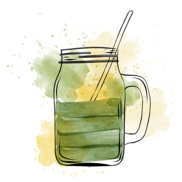 Hand drawn green smoothie jar in watercolor style