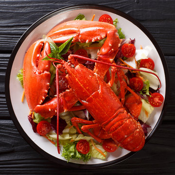 Delicious healthy food: boiled lobster with fresh vegetable salad on a plate close-up. top view