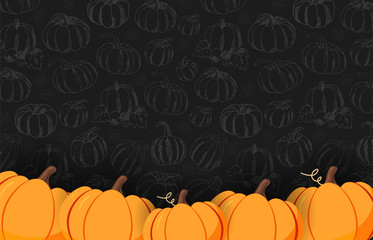 Autumn on the dark background with Hand-draw Pumpkins. Thanksgiving day. For shopping sale, promo poster and frame leaflet, web banner. Vector illustration template.