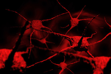 Parasites, human pathogenic microbes on red background. 3D Render