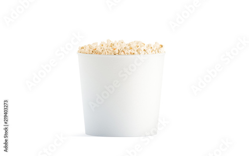 Blank white popcorn bucket mockup isolated 3d rendering clear pop blank white popcorn bucket mockup isolated 3d rendering clear pop corn pail mockup fastfood maxwellsz