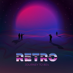 Vector poster design template in 80s retro futurism style, with futuristic violet sun and people gaze on it. Journey concept.