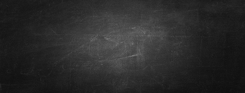 Horizontal black board or chalkboard wall texture background