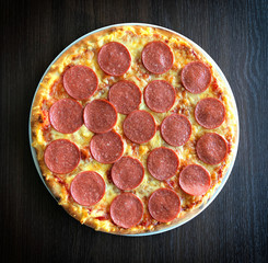 fresh tasty sausage pizza