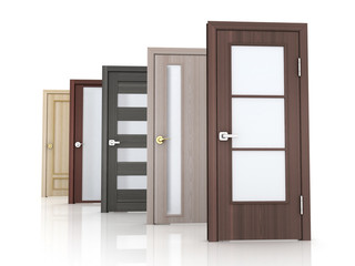 Row five doors on white background