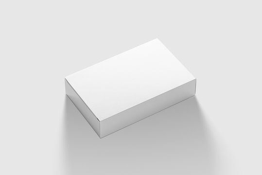 Photorealistic Flat Rectangle Cardboard Package Box Mockup on light grey background. 3D illustration. Mockup template ready for your design.