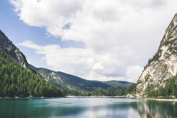 panoramic view on lake braies, italy