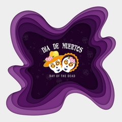 Purple paper layer cut frame with sugar skull or calavera for Mexican festival Dia De Muertos (Day Of The Dead) celebration greeting card design.