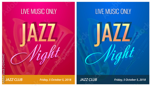 Flyer for Jazz Night Party - Vector Banner Template for