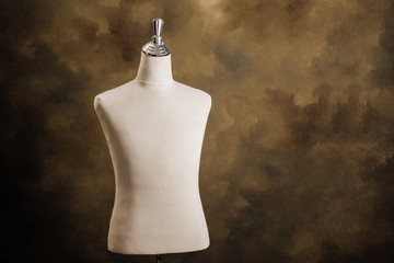 Mannequin on brown background.Horizontal appearance