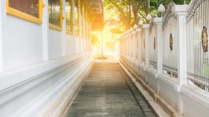 Walk in temple blur background