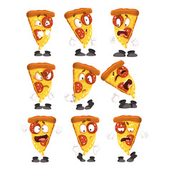 Cute funny slice of pizza with different emotions set, humanized cartoon fast food character vector Illustrations on a white background