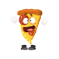 Cute funny slice of pizza, humanized cartoon fast food character vector Illustration on a white background