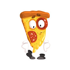 Cute slice of pizza, funny cartoon fast food character vector Illustration on a white background