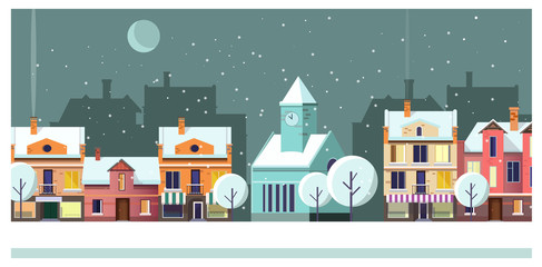 Winter night townscape with houses and moon vector illustration