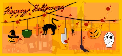 Illustration Set of Happy Ghost, Monsters and Evils Hanging on Spooky Background For Halloween Celebration Party.