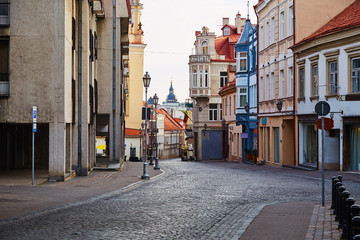 Empty main tourist street in capital of Lithuania - Vilnius