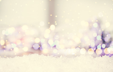 beautiful wintery background with bokeh and snow