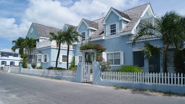HARBOUR ISLAND, ELEUTHERA, BAHAMAS - MARCH 12, 2017. Blue house in the street