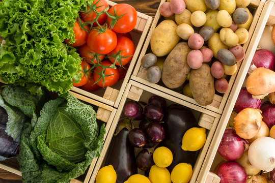 Overhead view on crates containing vegetables